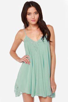 Pretty Blue Dress - Lace Dress - Babydoll Dress - $41.00