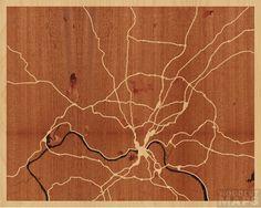"20""x16"" Woodcut Map of Cincinnati"