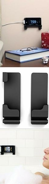 You love your gadgets, so do we! Store you phone/tablet a bit easier with this universal wall mount stand/holder. Compatible with any Apple and Samsung device this wall mount is perfect for your space. Designed to not damage walls it is easy to install. No screes or holes required.  Features built-in cord clip.