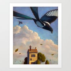 Watching magpies Art Print by Children's Illustration