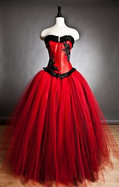Custom Size red and black burlesque corset Ball gown by Glamtastik, $350.00