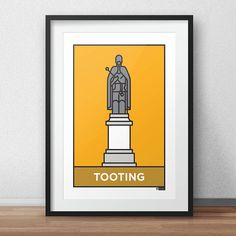 This is a stylish flat vector line art print of featuring one of the iconic landmarks of the London suburb of Tooting. Designed by Dan. Fit to grace any living room or children's bedroom or hallway, it's styled with a contemporary modernist twist, featuring the statue of Edward VI, which greets every visitor arriving from Tooting Broadway Station. A jewel in the crown of Wandsworth. You can purchase this artwork as a print directly from www.etsy.com/uk/shop/DesignedByDan