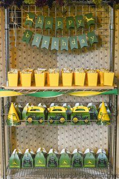 John Deere party favors set up for a John Deere birthday party. 1st Birthday Party For Girls, Birthday Party Favors, Birthday Party Decorations, Birthday Ideas, Tractor Birthday, Farm Birthday, Frozen Birthday, John Deere Party, Party Ideas