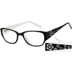 A full rim acetate frame with spring hinges, and a pansey design on temples.      ...Price - $29.95
