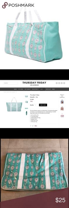 """NWT Thursday Friday Weekend Tote Bag New with tags Thursday Friday Jewels 'Liz' Tote Weekend Travel Bag. Pretty Tiffany blue color. Retail $115. This carry-all features a spacious, yet refined interior. The exquisite jewelry graphic print makes it a chic travel bag for day trips or weekend getaways. It's slender vegan leather handles will fit comfortably over the shoulder. 16"""" H x 23.5"""" W x 7"""" D. Three inner pockets, double handles with 9"""" drop, top zip closure. 100% cotton canvas, 100%…"""