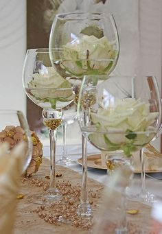 45 Gorgeous Wedding Decoration for White Wedding The gorgeous wedding gown ever with sheer fabric and floral embellishments, a tented reception with blooming chandeliers, antique roses, and an acrylic dining table. Spring Wedding Centerpieces, Table Centerpieces, Wedding Decorations, Centrepieces, Centerpiece Ideas, White Centerpiece, Centerpieces With Wine Glasses, Simple Elegant Centerpieces, Calla Lily Centerpieces