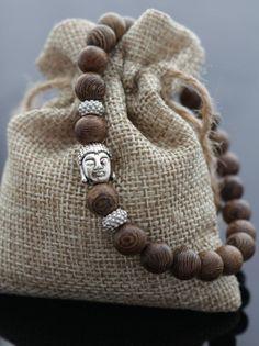 Bracelet tête de Bouddha Bouddha Bracelet en argent par PearsApples