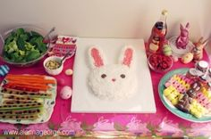 Bunny themed party. Instructions for cake, party favors, and games included.