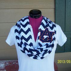 Auburn Tigers Navy & White Game Day Chevron Infinity Scarf  Knit Jersey