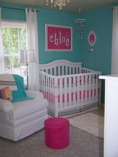 What will be baby's room is already this color. I love the idea of blue with pink accents for a girl's room.