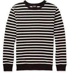 A.P.C. Striped Loopback Cotton-Jersey Sweatshirt