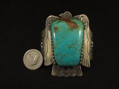 Vintage Navajo Silver and Turquoise Thunder Bird Bracelet