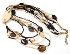 """GOLD TONE 29"""" IVORY COLOR BROWN GLASS BEAD FAUX PEARL WOOD MULTI STRAND NECKLACE…"""