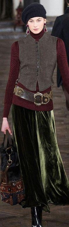 Love vests over a longer top-----velvet skirt