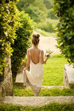 backless & pretty bun. bridesmaid dress. simple wedding.