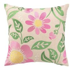 Green and Pink Floral Embroidered Pillow www.wellappointedhouse.com
