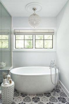 Modern Farmhouse in Chicago Suburbs White Free Standing Bath Tub Shower Remodel, Bathroom Style, Modern Master Bathroom, Shower Stall, Free Standing Bath Tub, Bathroom Design, Bathroom Decor, Bathtub, Small Bathroom Remodel