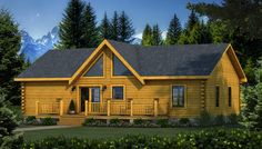 Wateree I Rear Elevation - Southland Log Homes