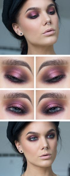 Hen Party - I chose this look for a hen party as it's fun to play with different colours for a smokey eye, keeping the skin flawless and a nude lips means all attention is drawn to the gorgeous bright fun colours used on the eyes #make up #searchub
