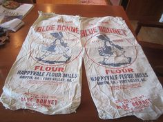 To become cushions Fort Valley, Flour Sacks, Flour Mill, Blue Bonnets, French Country, Bungalow, Cushions, Farmhouse, Cottage
