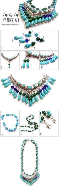 This necklace is knock out in gorgeous shades of turquoise and green featuring a turquoise & silver centre piece with turquoise drops highlighted by sapphire & aqua crystals. Beginner skill level -  Open and close jump rings and make a simple wire loops. You will add beads to the centre piece and create the two layered necklaces.