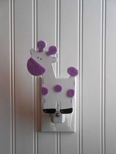Giraffe Night Light - Purple Nursery Decor - Night Lights - Zoo Nursery Decor - Lavender Nursery - Giraffe Nursery Decor - Girls Nursery