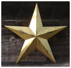 Amish Hand Made Rustic Metallic Gold Tin Metal Barn Star Stars