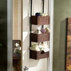Diy Storage Rack, Door Storage, Storage Hacks, Storage Baskets, Storage Ideas, Craft Storage, Storage Shelves, Diy Rangement, Primitive Bathrooms