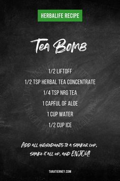 An Herbalife Tea Bomb is a low-calorie drink that will help give you a boost of energy! Learn the benefits, get the recipe, and shop for the ingredients! Herbalife Aloe, Herbalife Shake Recipes, Herbalife Nutrition, Herbalife Meal Plan, Herbalife Motivation, Nutrition Club, Nutrition Drinks, Child Nutrition, Oatmeal