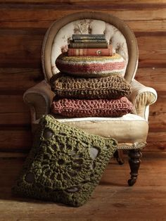 crocheted cushions are lovely for Fall/Winter.
