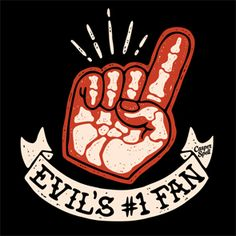 Evil's Number One Fan Halloween Skull Skeleton Retro Vintage Apparel Shirt Tee Clipart Casper Spell