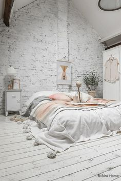 Interior inspiration pastel bedroom with peach nude and a white brick wall ©BintiHome-19