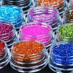 12 cor de Metal Glitter prego ferramenta Art Kit acrílico UV pó poeira gem ferramentas Nail Polish # M01090 alishoppbrasil