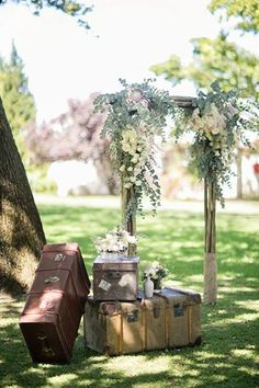 Old suitcases dolled up with flowers