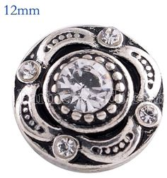 Antique Silver White Rhinestone 12mm Mini Petite Snap For Ginger Snaps Jewelry #Handmade #Interchangeable