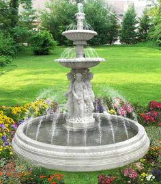 outdoor fountain and large front yard landscaping ideas