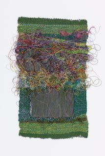 Brilliant green ground with rows of loops of silk in many colors in the upper half, and two pieces of slate inserted between the warps in the lower half. Weaving Textiles, Tapestry Weaving, Loom Weaving, Sheila Hicks, Yarn Bombing, Tear, Fabric Manipulation, Weaving Techniques, Textile Artists