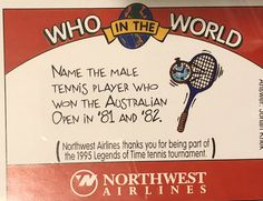 Thank you @northwestairlines for this trivia :) Did we say there are only 10 days left until the @australianopen! #tbt #JohanKriek #AustralianOpen #champion #tennis #grandslam #countdown