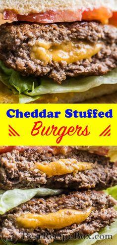 This popular juicy lucy cheeseburger is oozing with melted cheese in the center. It's the best cheeseburger you'll ever eat!
