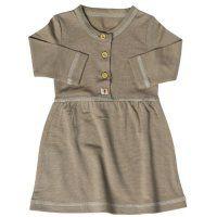 Merino Button Front Baby Girl's Dress in Kelp | Nurtured By Nature