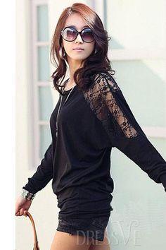 Black&White Long Bat Lace Sleeves  T-Shirt