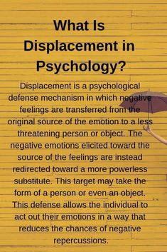 What Is Displacement in Psychology? Displacement is a psychological defense mechanism in which negative feelings are transferred from the original Psychology Notes, Behavioral Psychology, Psychology Studies, Psychology Major, Counseling Psychology, Psychology Facts, Developmental Psychology, Personality Psychology, Psychology Experiments