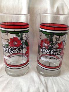 Coca Cola Glasses Whatabuger Christmas Poinsettia Tumbler Coke Soda