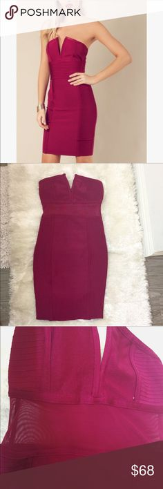 NEW 🔥🔥 Bandage Mesh Sheer V Plunge Tube Dress NEVER BEEN USED. Plunging v neckline with a sheer waistline made of Mesh. Mini dress is made of Luxurious Thick Bandage material intended to conform to your body's shape. Strapless sleeves w/ inner adhesive on chest to keep dress in place (photo). Back includes a zipper. Color is a berry wine (deep fuchsia). Made by the same company that makes Bebe & Bloomingdales & sells at Asos. NOTE: Photo of girl does not show Mesh waistline, but similar…