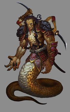 yuan ti Fantasy Races, High Fantasy, Fantasy Warrior, Fantasy Rpg, Monster Characters, Fantasy Characters, Fantasy Creatures, Mythical Creatures, Okinawa