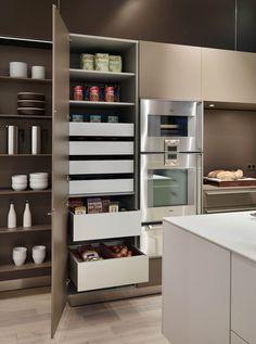 Modern larder shelving with drawers Kitchen Shelving Units, Kitchen Larder Cupboard, Kitchen Cabinetry, Kitchen Storage, Larder Unit, Interior Exterior, Kitchen Interior, Kitchen And Bath, New Kitchen