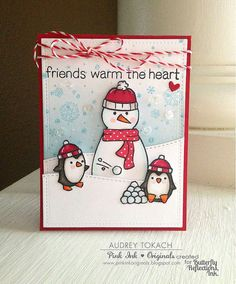 Lawn Fawn - Toboggan Together, Snowy Backdrops, Making Frosty Friends, Critters in the Arctic, Stitched Hillside Borders, Stitched Rectangle Stackables, Let's Bokeh in the Snow 6x6 paper, Peppermint Lawn Trimmings _ super cute card by Audrey via Flickr