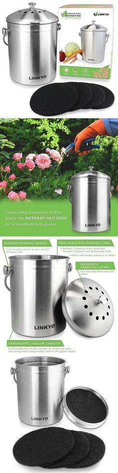 garden compost bins linkyo kitchen compost bin 1 gallon stainless steel composter with