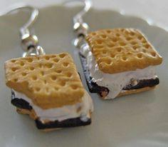 Smores Food Earrings   Miniature Food Jewelry by Artwonders, $12.50