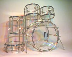 Clear kit by Zickos, pioneer maker of acrylic drums.